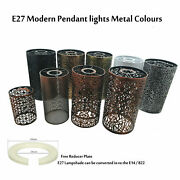Modern Drum Light Shades Metal Pattern Easy Fit Ceiling Pendant Table Lampshade