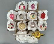Shiny Brite Mercury Glass Christmas Ornaments And Tree Topper Pink And Yellow