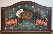 """Poker Room Cards Chips 3d Wood Wall Plaque Man Cave Game Room 26 3/4"""" X 17 1/4"""""""