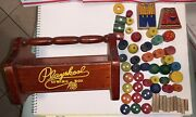 Vintage Playskool Wood Sewing Box Carrying Tote Toy Wooden Spools Button Extra