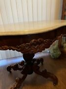 Stunning Victorian Rococo Turtle Marble Top Center Table With Dolphin Base Ex