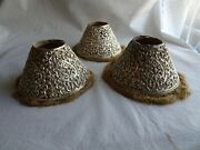 3 Vintage Open Cut Pierced Metal Candle Lamp Shades, Silver With Threaded Fringe