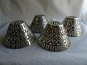 4 Vintage Open Cut Out Pierced Metal Candle Lamp Shades, Silver Or Chrome Finish