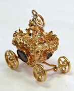 Vintage 18k Yellow Gold 19.3 Gram Jeweled Coach / Carriage Charm / Pendant