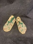 Early American Indian Beaded Doll Moccasins