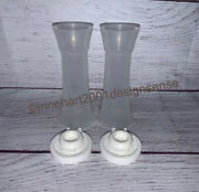 New Tupperware Salt And Pepper Shakers Hourglass Set Small 4 Sheer And White 831