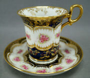 Paragon Pink Roses Cobalt And Gold Empire Form Chocolate Cup And Saucer Circa 1907