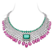 Vintage Royal Indian Style Pink Ruby Drops, Green Emerald And White Cz Necklace