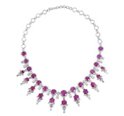 Featuring Rare Round And Hexagon-shaped Rubies And White Cz 45.65tcw Fine Necklace