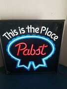 1980s Pabst Beer This Is The Place Back Bar Light Up Sign Game Room Pbr