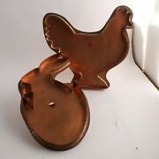 2 Martha Stewart By Mail Large Copper Cookie Cutters Barnyard Hen Hatching Bunny
