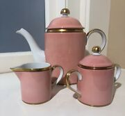 Renaissance Peach Fitz And Floyd Coffee Pot Cream And Sugar With Lids