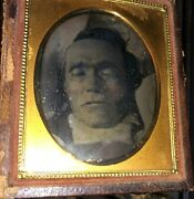 Post Mortem Daguerreotype Of A Man - Close View Of Face - In His Coffin