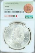 1947 Mo Mexico Silver 5 Pesos Cuauhtemoc Ngc Ms 63 Low Mintage Beautiful Coin