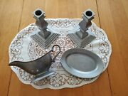 Wilton Armetale Pewter Tableware-candlesticks And Queen Anne Gravy Boat W/undrplte