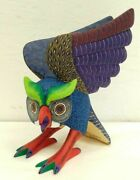 Pp2462 Oaxacan Wood Carving Alebrije Owl By Damian And Beatriz Morales.
