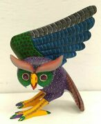 Pp2463 Oaxacan Wood Carving Alebrije Owl By Damian And Beatriz Morales.