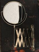 Antique Extendable Accordion Shaving Mirror Brass Tone Vintage 2 Sided - Japan