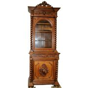 Antique Bookcase French Carved Oak Bookcase With Carved Game Cabochon 1800s