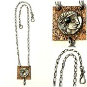 Vintage Sterling Roman Coin And Mabe Pearl Over Copper Dangle Pendant Necklace