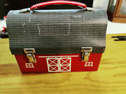 Rare Vintage American Thermos Bottle Co Red Barn Metal Dome Lunch Box
