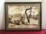 Handmade Painting With Coffee Woman With Bethlehem City View In The Early 1900s