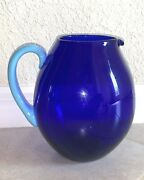 Rare Murano Nason Moretti Cobalt Blue Art Glass Pitcher, Signed And New With Tag