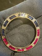 Bezel For Rolex Gmt-master Ii 116758 Yellow Gold Sapphire Rubies And Diamonds