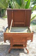 1870-1890 American Golden Oak Hotel / Home Washstand - Dry Sink Lift Top Table
