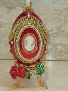 Russian Faberge Egg Musical Gift Faberge Necklace 24k Gold Natural Handcarve Egg