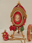 Unique Engagement Present For Fiance Daughter Sister Faberge Egg 24k Gold Ruby