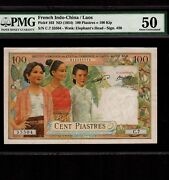 French Indo-china 100 Piastres 1954 P-103 Pmg Au 50 Laos Issue