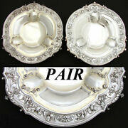 Pair Antique French Sterling Silver 9.5 Serving Dish Matching 9.5 Sp Dish