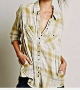 Free People Women's Oversize Double Dip Plaid Button Down Top Size Small