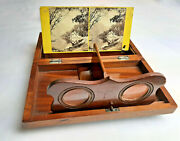 Antique Stereopticon Stereo Card Viewer Locked Box For Risque Stereoviews
