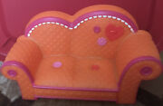 """10.5"""" Lalaloopsy Orange Couch W/pink Trim Fits 2 Full Size Dolls Gc"""