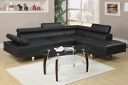 Modern Sofa Chaise Black Faux Leather Sectional Sofa Set Living Room Furniture