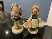 2 Hummel Figurines Home From The Market 198 Mothers Darling 175 Full Bee 1950s