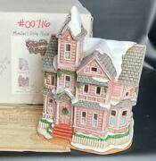 Lefton China Colonial Village Memberand039s Only Piece Lighted Pink Kirby House +coa