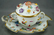 Dresden Thieme Hand Painted Encrusted Flowers And Gold Covered Cup And Leaf Saucer