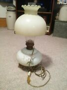 Antique Hurricane Lamp Gone With The Wind Vintage Glass Globe Shade Oil Made Ele