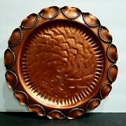 Vintage Gregorian Solid Copper Hammered Ruffled Ornate Rope 9 Plate Beautiful