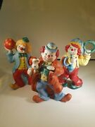 3 Enesco Clown Figures, Hand Painted Colors Are Beautiful, Nothing Scary , Sweet