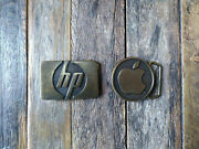 Vintage Apple Computers And Hp Brass Belt Buckles Set Made In Usa