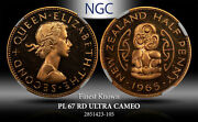 1965 New Zealand 1/2 Penny Ngc Pl 67 Rd Ultra Cameo Finest Known Worldwide