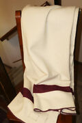 Wwii Us Army White Wool Medical Blanket Hand 1944 With Burgundy Stripes No. 1