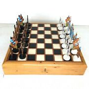 Vintage Chess Set Wood And Leather Storage Box Chest Hand Tooled Made In Montana
