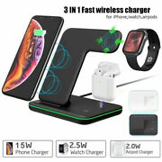 15w Fast Qi Wireless 3 In 1 Charger Dock Stand For Apple 12 11 Pro Max Airpod