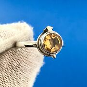 Vintage Sterling Silver Citrine Solitaire Poison Pill Secret Compartment Ring