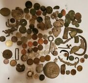 Lot Of Metal Detector Finds, Ground Dug German Items, Knobs, Coins, And More